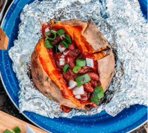 Foil-Wrapped Baked Sweet Potatoes and Chili