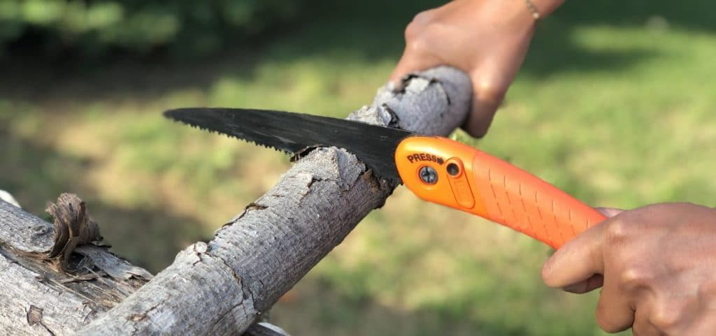 Processing-Firewood-With-A-Folding-Saw