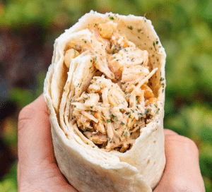 Sweet And Spicy Cashew Chicken Salad Wraps