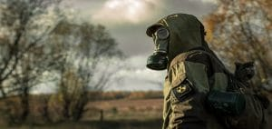 prepper with gas mask