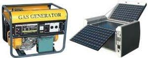 solar generator or fuel generators