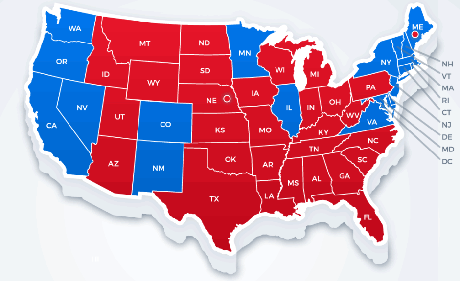 blue (Democrats) and red (Republicans)